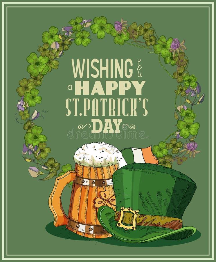 Lyckligt Sts Patrick kort för daghälsning stock illustrationer