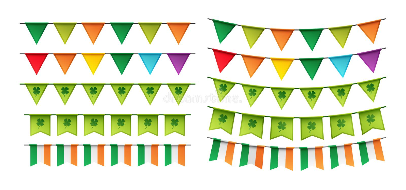 Lyckligt Sts Patrick kort för dagparti med bunting stock illustrationer