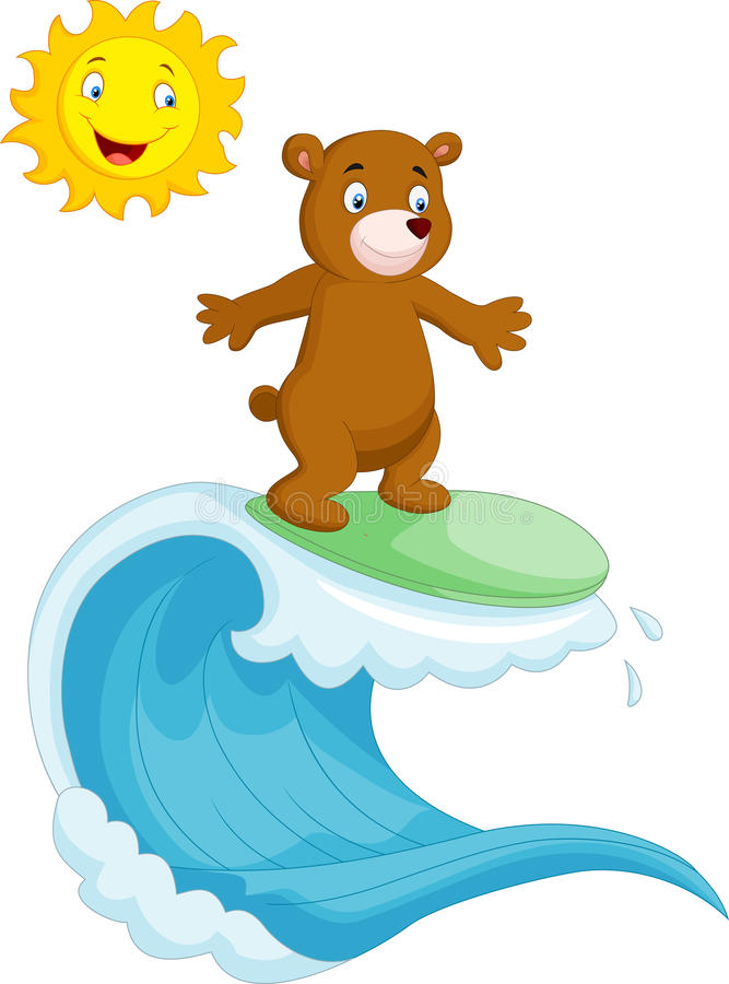 Lyckligt surfa för brunbjörntecknad film vektor illustrationer