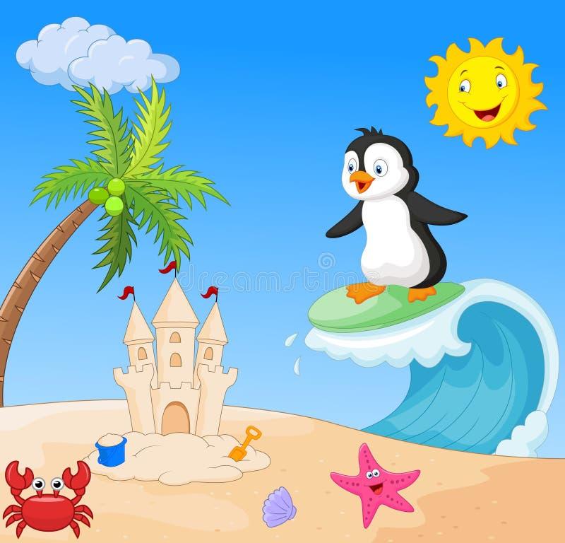 Lyckligt surfa för pingvintecknad film vektor illustrationer