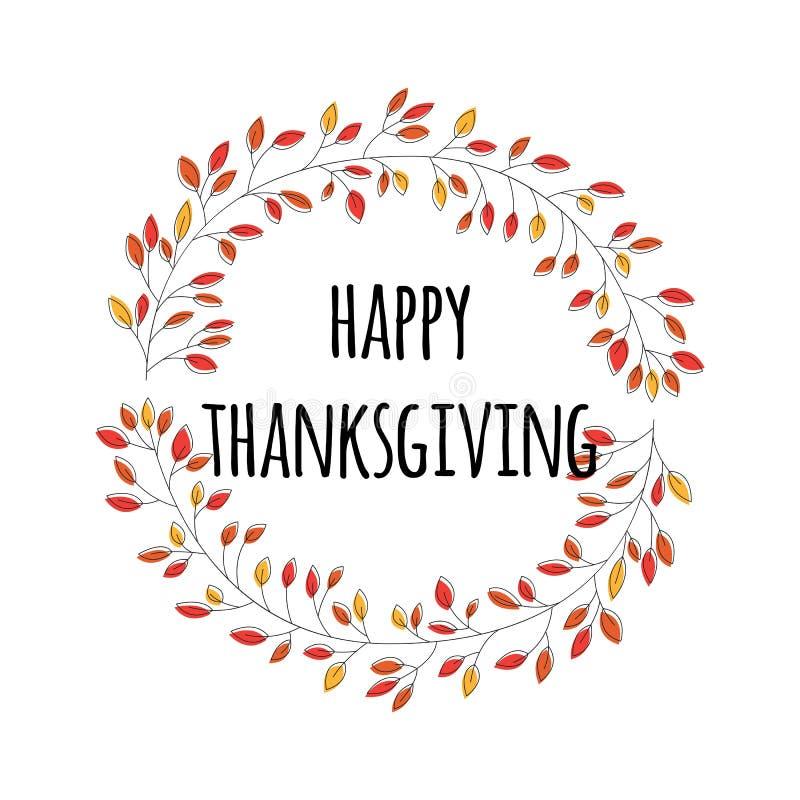 Lyckligt tacksägelsedagkort med den dekorativa blom- kransen, färgrik design royaltyfri illustrationer