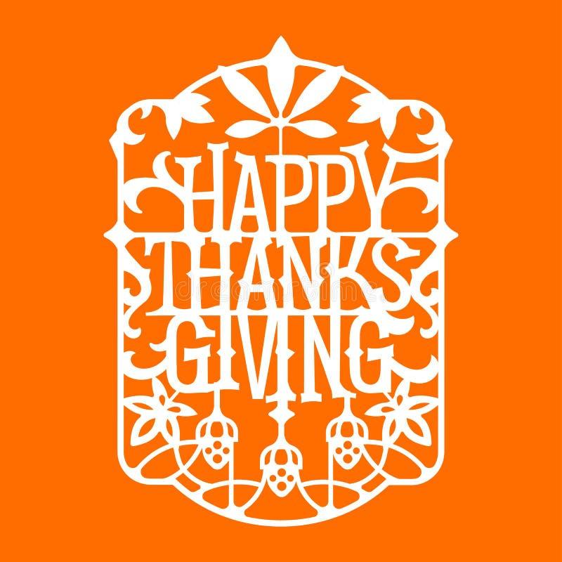 Lyckligt tacks?gelseuttryck Tacks?gelsecitationstecken Design för inbjudan- eller Autumn Holiday Celebration Cutting Paper konst  stock illustrationer