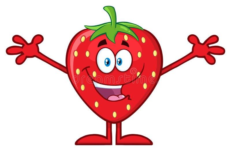 Lyckligt tecken för jordgubbefrukttecknad film med öppna armar för att krama vektor illustrationer