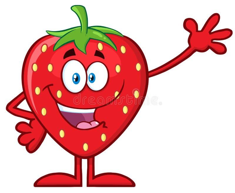Lyckligt tecken för maskot för jordgubbefrukttecknad film som vinkar för att hälsa stock illustrationer