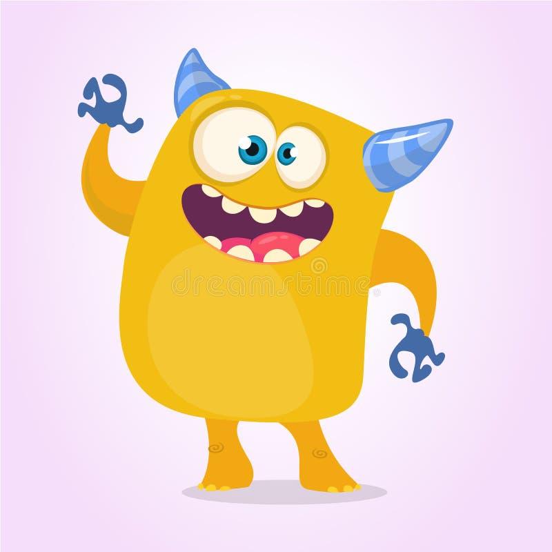 Lyckligt tecknad filmmonster Allhelgonaaftonvektorapelsin och horned monster stock illustrationer