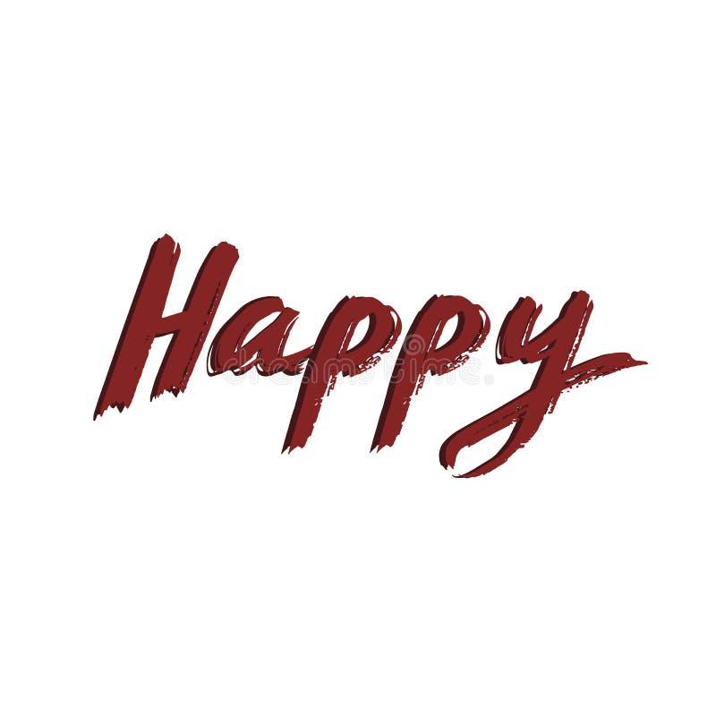 Lyckligt textbaner Lycklig röd bokstäver Lycklig vektor Röd kalligrafi stock illustrationer