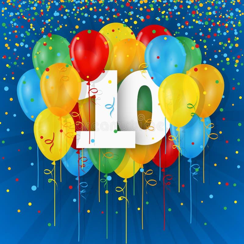 Lyckligt 10th födelsedag-/årsdagkort med ballonger royaltyfri illustrationer