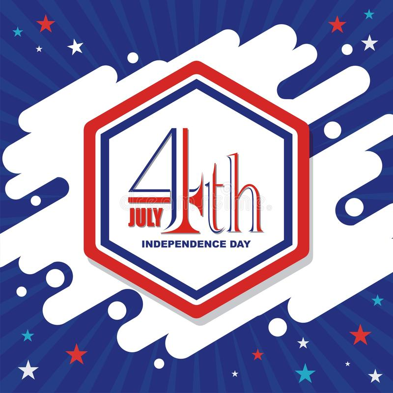 Lyckligt 4th Juli, design för USA självständighetsdagenvektor vektor illustrationer