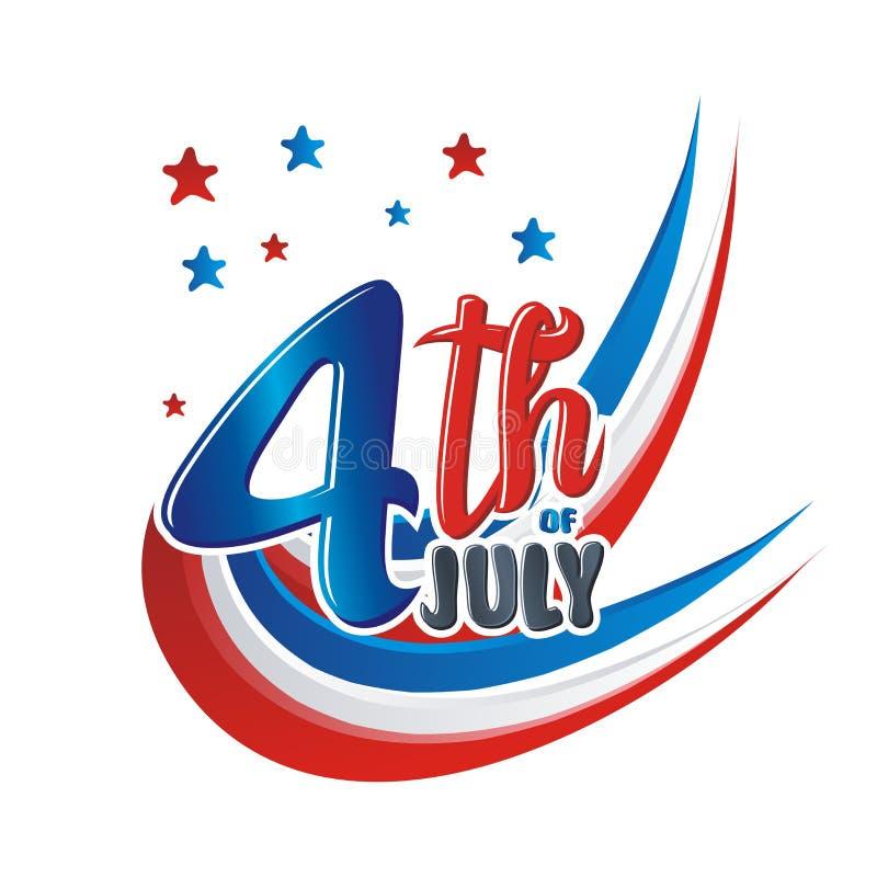 Lyckligt 4th Juli, design för USA självständighetsdagenvektor royaltyfri illustrationer
