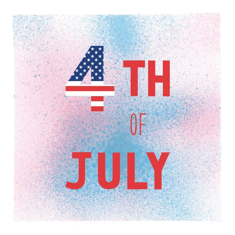 Lyckligt 4th Juli på blå och rosa sprutmålningsfärgvattenfärg vektor illustrationer