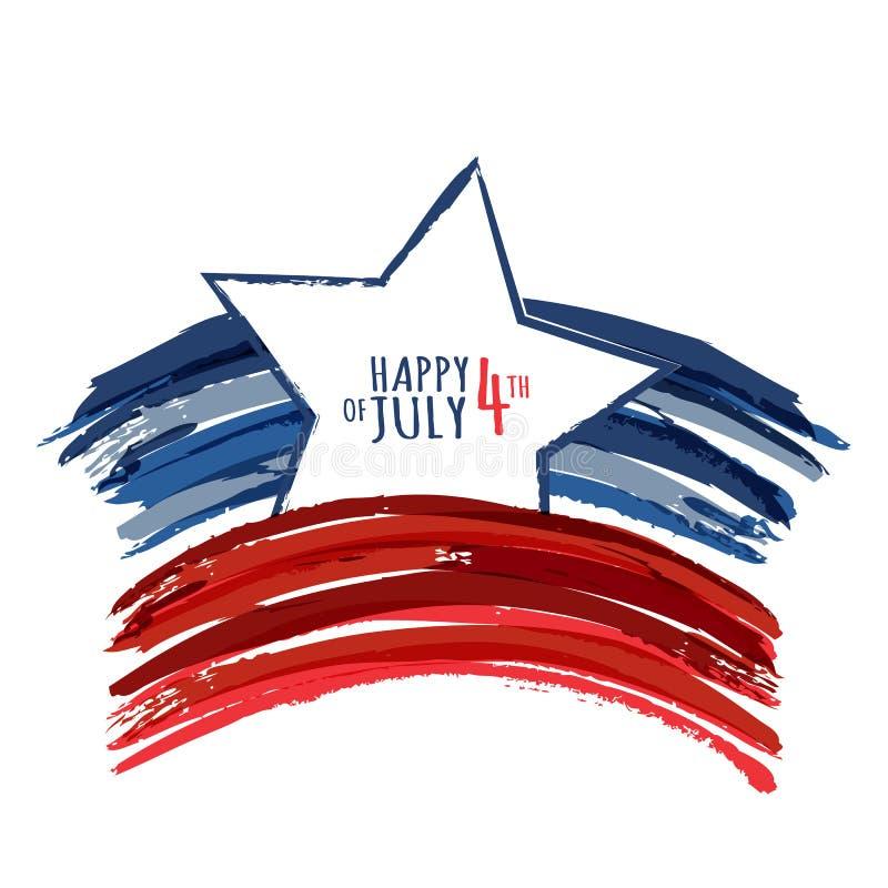 Lyckligt 4th Juli, USA självständighetsdagen Abstrakt grunge för vektor royaltyfri illustrationer