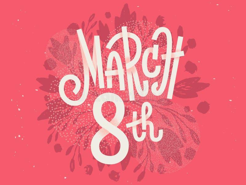 Lyckligt 8th mars, de internationella kvinnornas dag royaltyfri illustrationer
