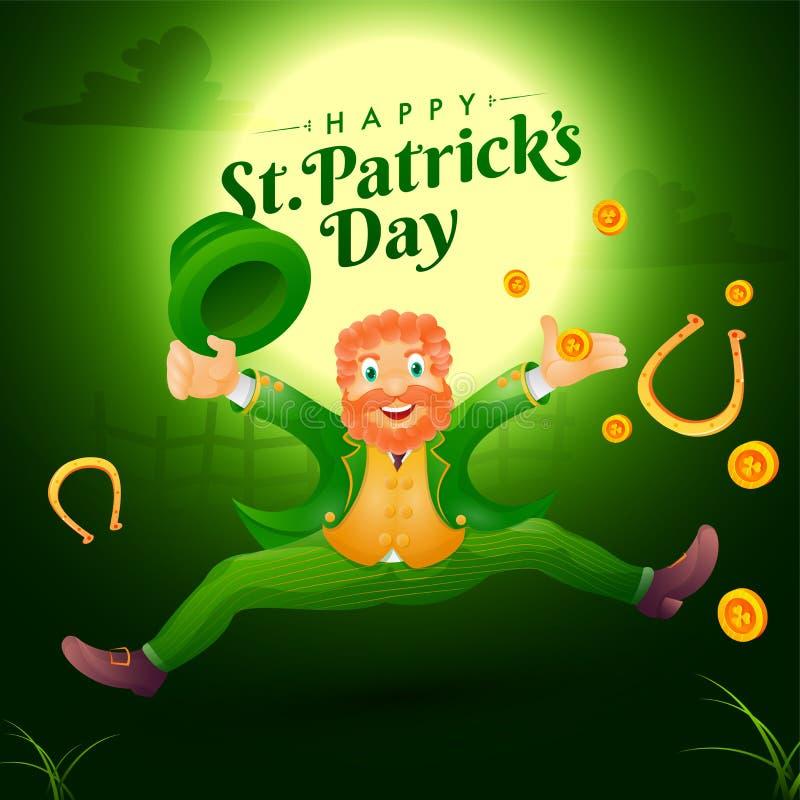 Lyckligt trollmantecken med festivalbeståndsdelar på fullmånenattbakgrund för Sts Patrick dag royaltyfri illustrationer