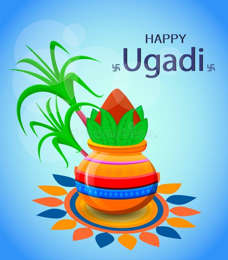 Lyckligt Ugadi och Gudi Padwa hinduiskt nytt år Hälsningkort för ferie royaltyfri illustrationer