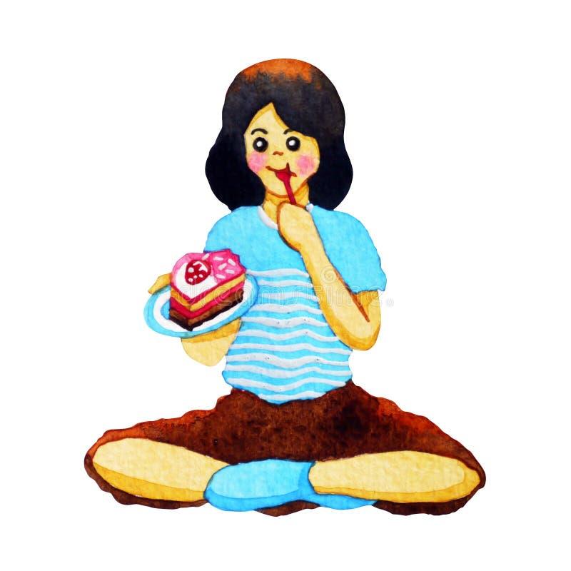 Lyckligt ungt tonåringflickasammanträde som äter kakavattenfärgmålning arkivbild