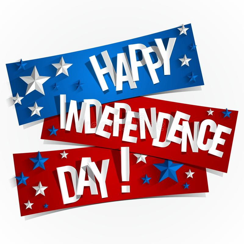 Lyckligt USA självständighetsdagenkort stock illustrationer