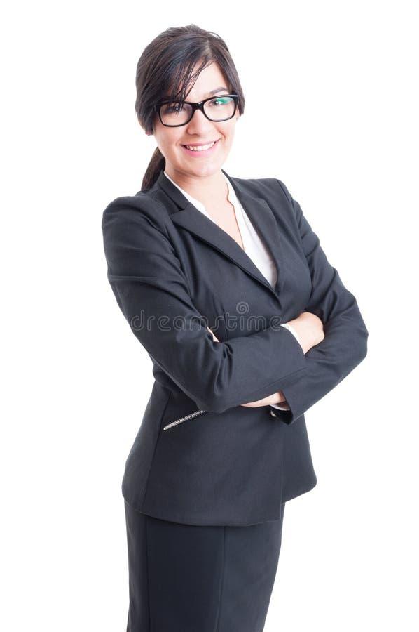Lyckligt, vänligt och le affärskvinnan royaltyfria bilder