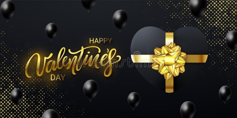 Lyckligt valentin dagbaner med en bokstäver, formade och fallande ballonger för realistisk hjärta för gåvaask på svart bakgrund royaltyfri illustrationer