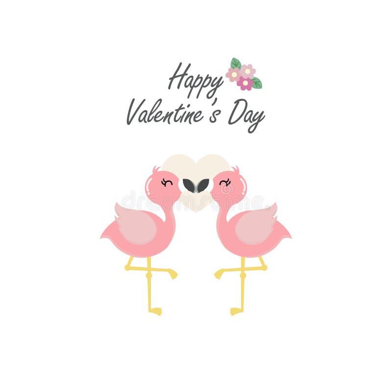 Lyckligt valentin dagkort med förälskade rosa flamingo royaltyfri illustrationer