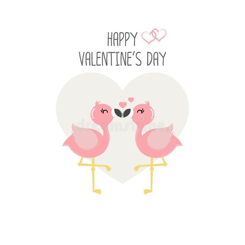Lyckligt valentin dagkort med förälskade rosa flamingo vektor illustrationer