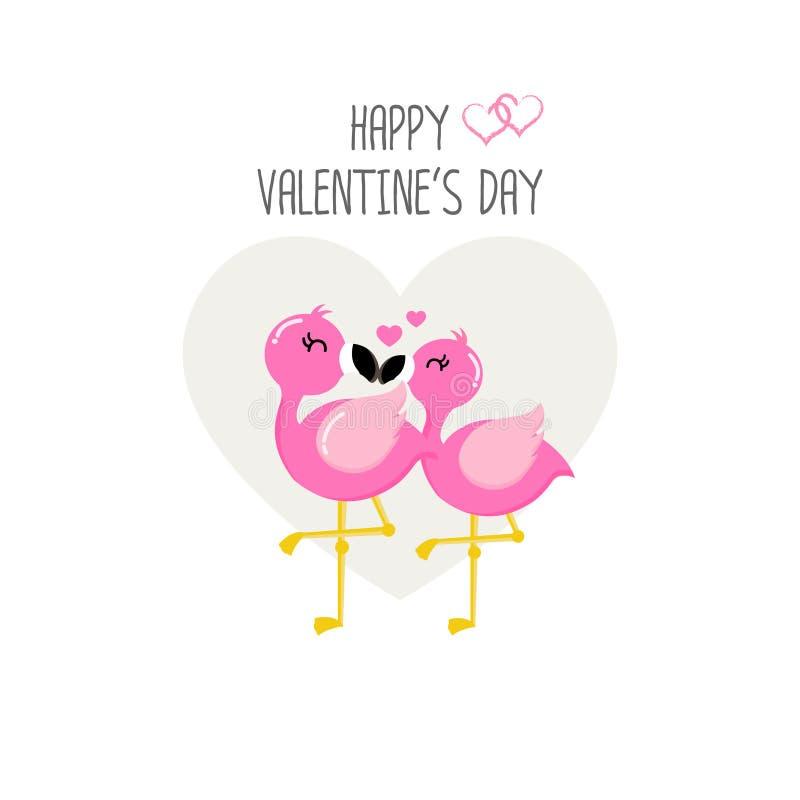 Lyckligt valentin dagkort med förälskade rosa flamingo stock illustrationer