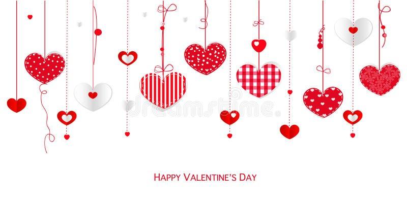 Lyckligt valentin kort för daghälsning med bakgrund för vektor för hjärtor för gränsdesign hängande royaltyfri illustrationer