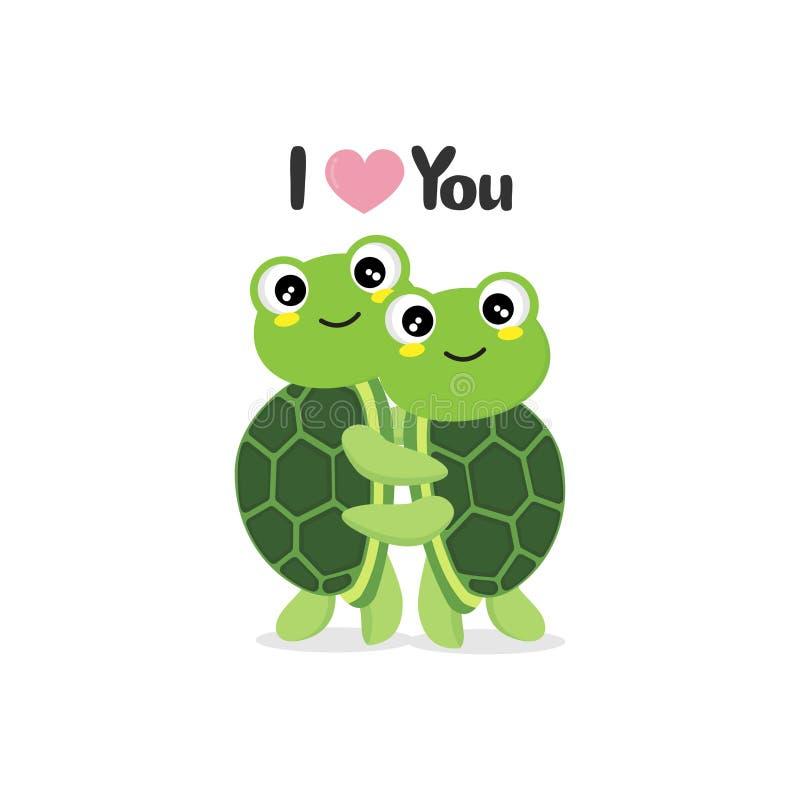 Lyckligt valentin kort för daghälsning med gulliga sköldpaddor royaltyfri illustrationer