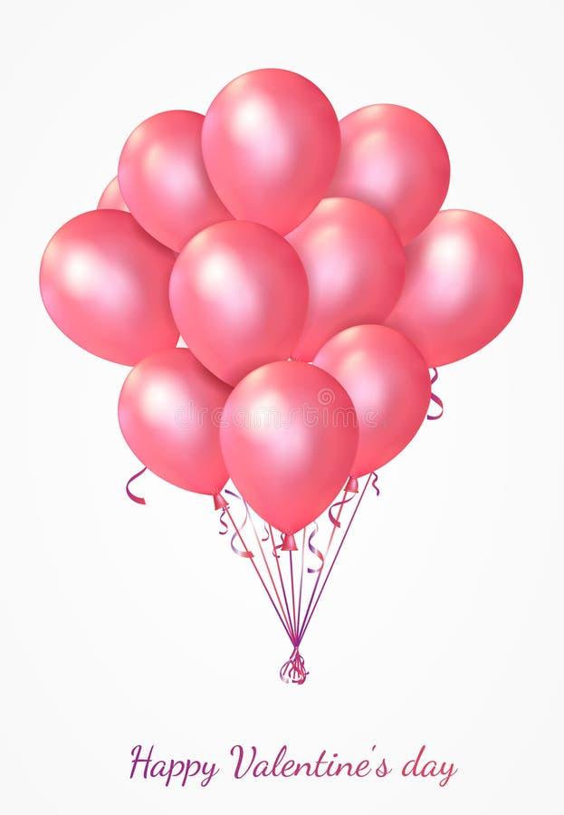 Lyckligt valentin kort för daghälsning med rosa ballonger vektor illustrationer