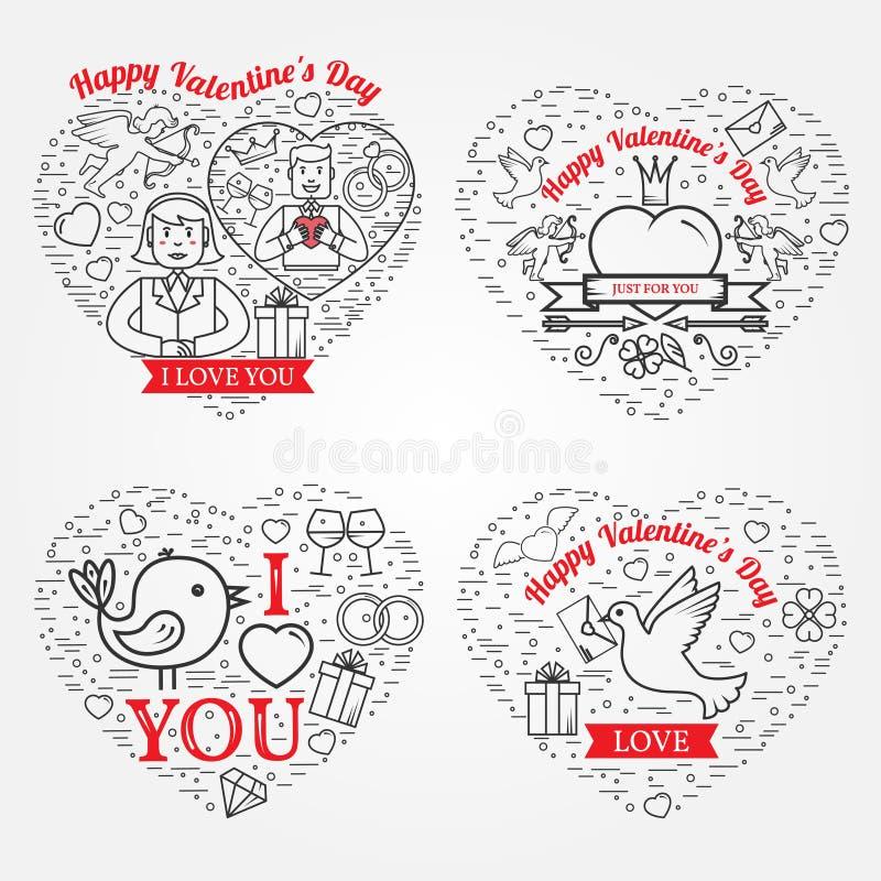 Lyckligt valentin kort för daghälsningar, etiketter, emblem, symboler, I stock illustrationer