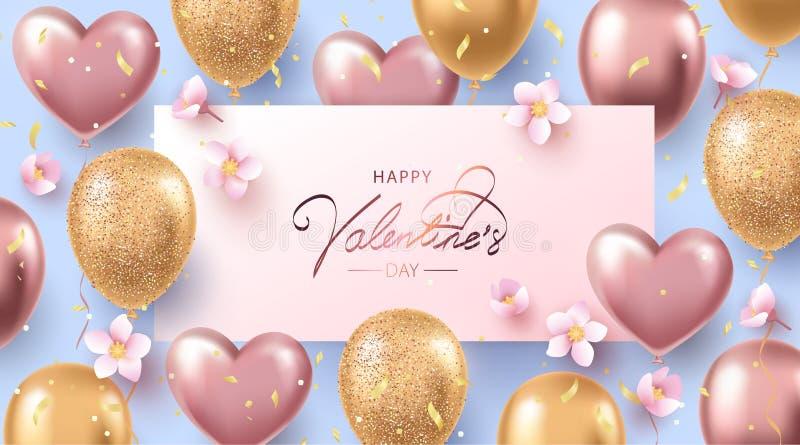 Lyckligt valentindagbaner, affisch eller reklamblad med heliumskenros-guld och guld- ballonger, konfettier och körsbärsröda blomn stock illustrationer