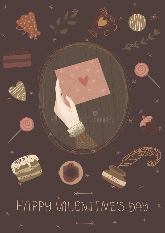 Lyckligt valentindagkort, gullig tappningaffisch, baner, inbjudan royaltyfri illustrationer