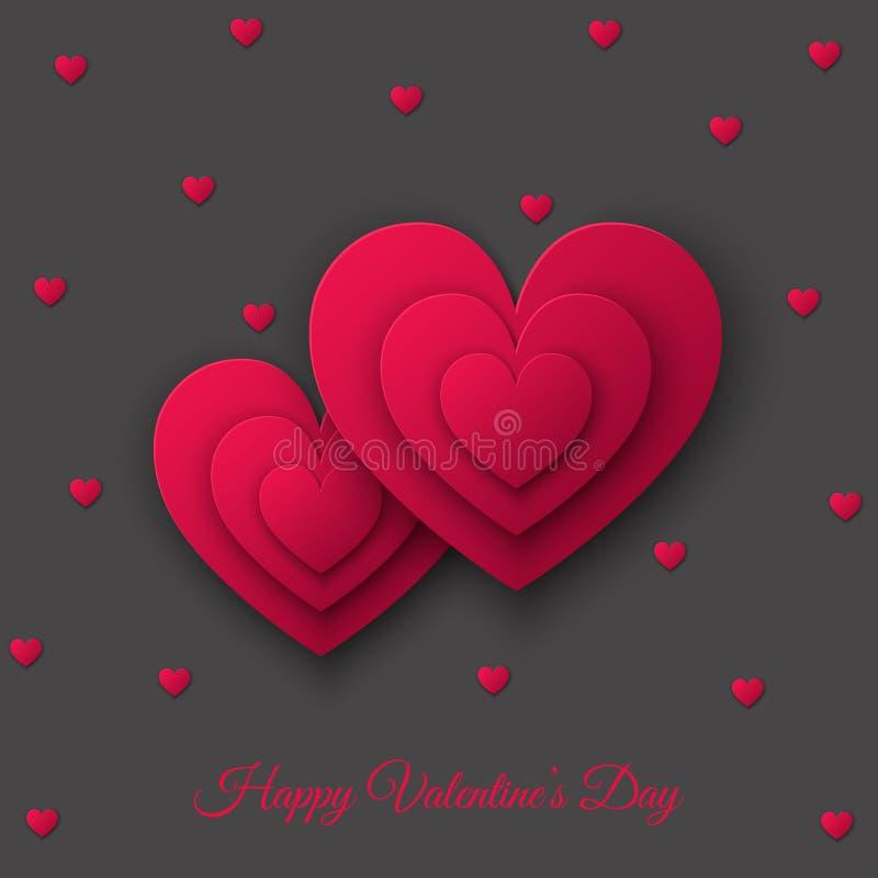 Lyckligt valentindagkort med hjärtor för rosa färgsnittpapper vektor illustrationer
