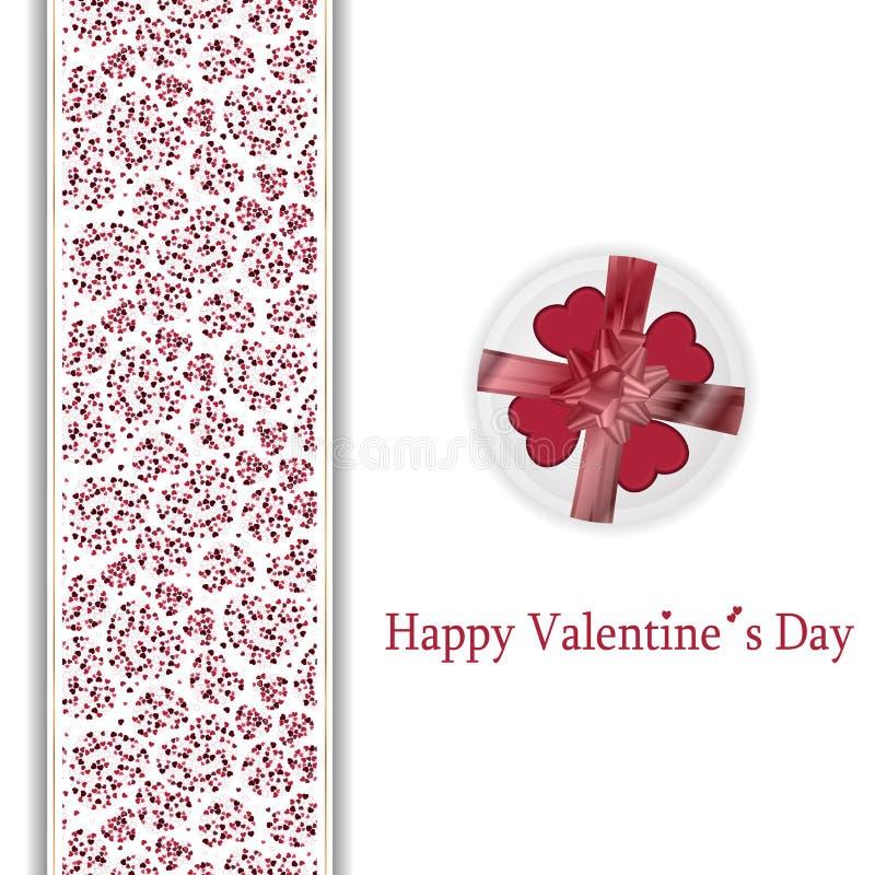 Lyckligt valentindagkort med röda och rosa hjärtor royaltyfri illustrationer