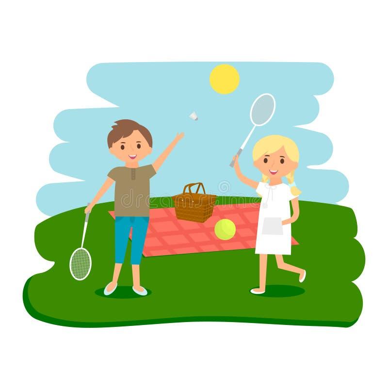 Lyckligt vila för ungepicknick Pojke och flicka utomhus på sommarpicknick också vektor för coreldrawillustration stock illustrationer