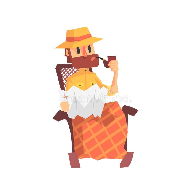 Lycksökarearkeolog i Safari Outfit And Hat Smoking i gungstolillustration från rolig arkeologiforskare royaltyfri illustrationer