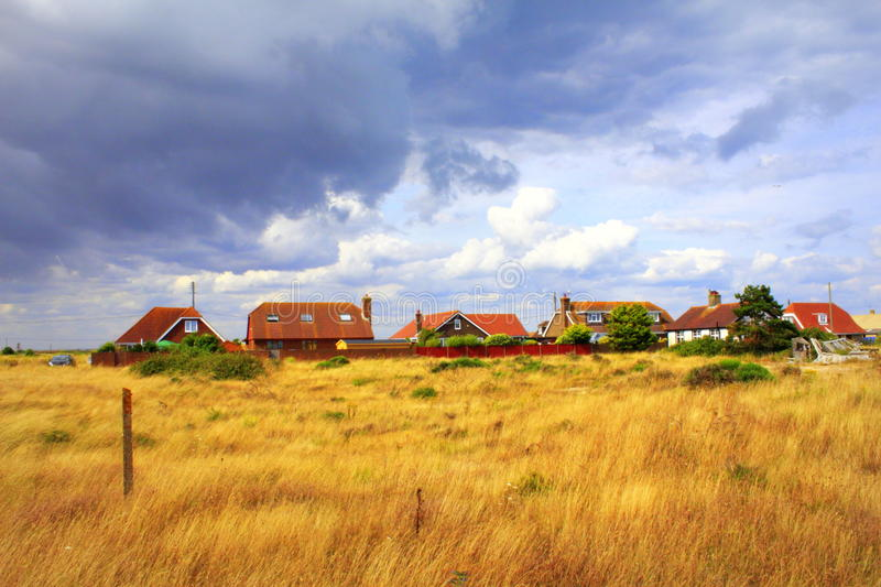Lydd-on-Sea village England United Kingdom. Dungeness Nature Reserve and Lydd-on-Sea village.Lydd-on-Sea is a modern village, mostly built after World War II stock photos