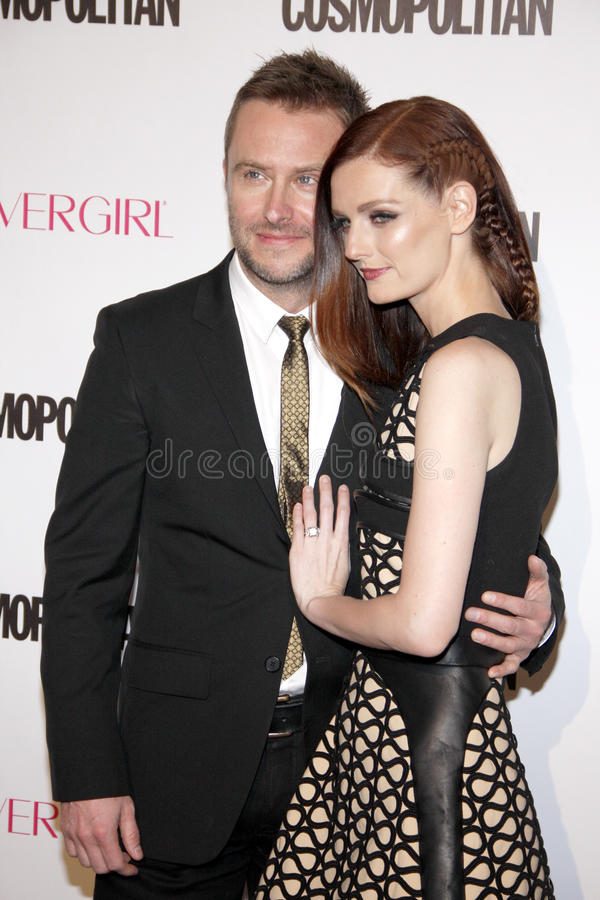 Lydia Hearst and Chris Hardwick. At the Cosmopolitan's 50th Birthday Celebration held at the Ysabel in West Hollywood, USA on October 12, 2015 royalty free stock photos