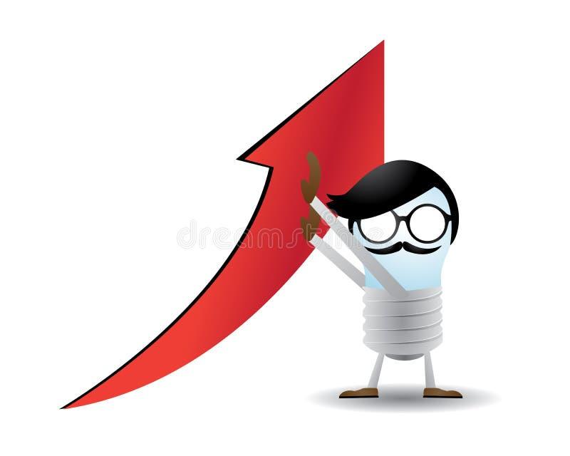 Lyft upp vinsten och succesna förbi lamputeckenet vektor illustrationer