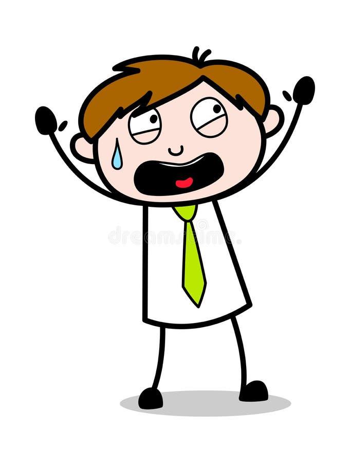Lyfta händer med skräck - kontorsrepresentantEmployee Cartoon Vector illustration vektor illustrationer