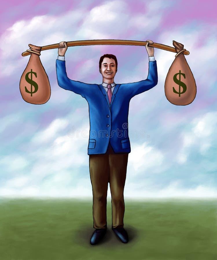 lyftande pengar stock illustrationer