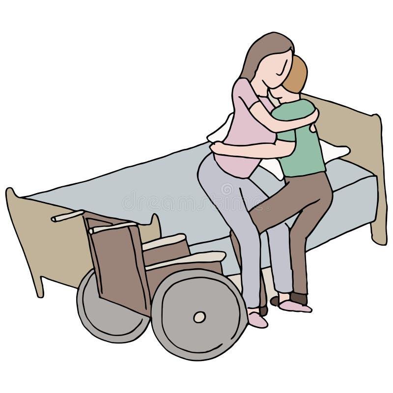 Lyftande rörelsehindrad kvinna royaltyfri illustrationer