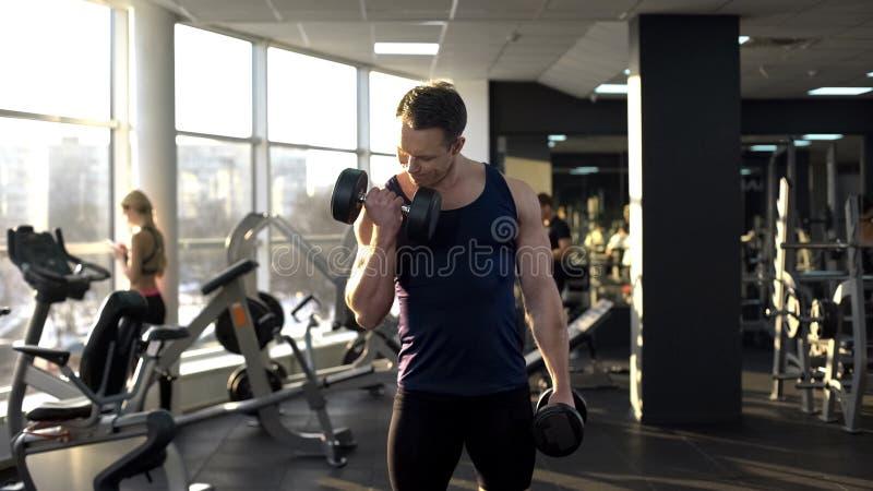 Lyftande vikt för muskulös kroppsbyggare som gör hantelkrullning, genomkörare i idrottshall fotografering för bildbyråer
