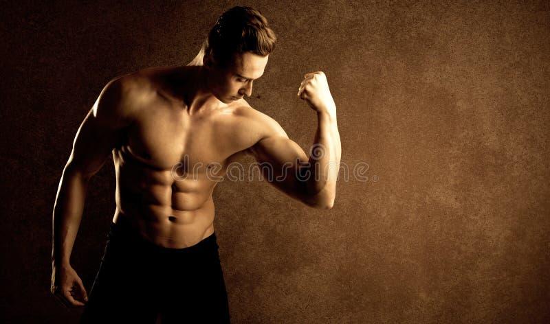 Lyftande vikt för muskulös passformkroppsbyggareidrottsman nen arkivbilder