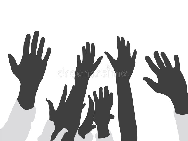 lyftta händer royaltyfri illustrationer