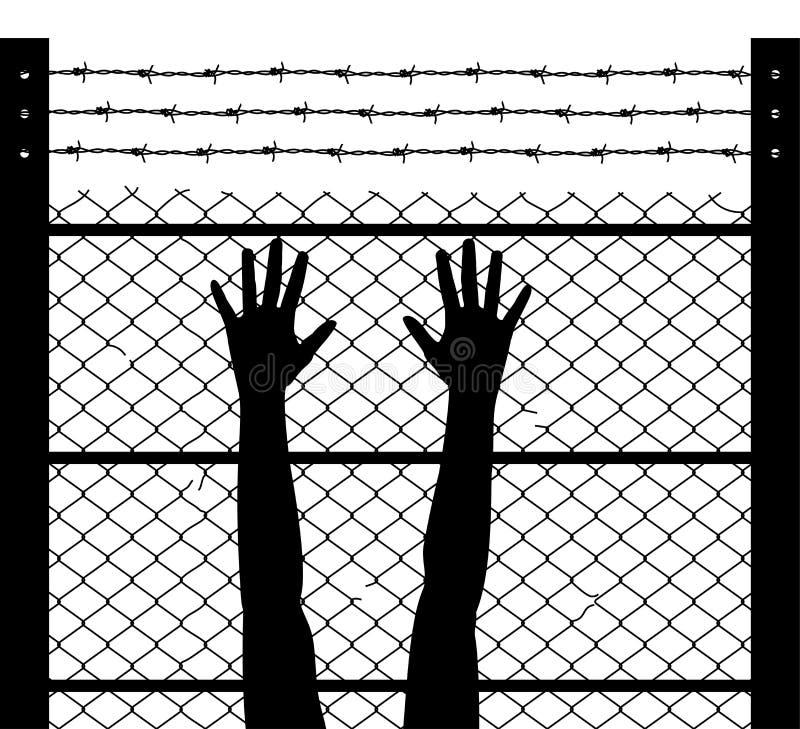 Lyftta händer och försett med en hulling - binda fängelsegränsen stock illustrationer