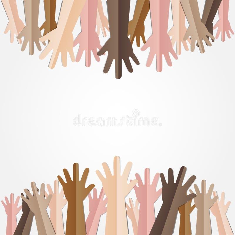 Lyftta händer upp samman med olik hudsignal av många personer stock illustrationer