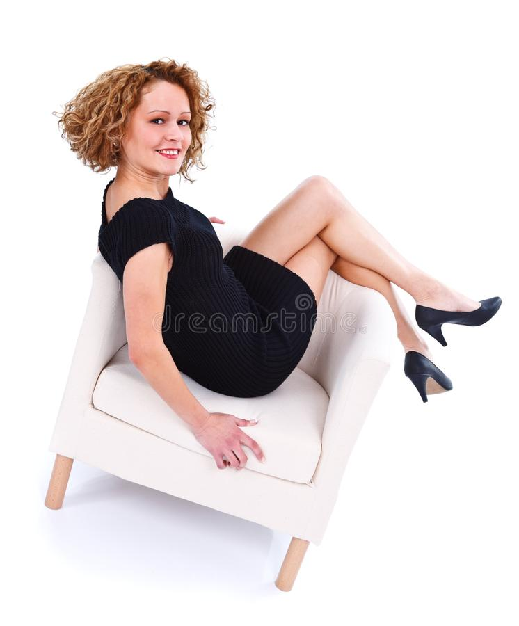 Download Lying back in armchair stock image. Image of lady, armchair - 29031315