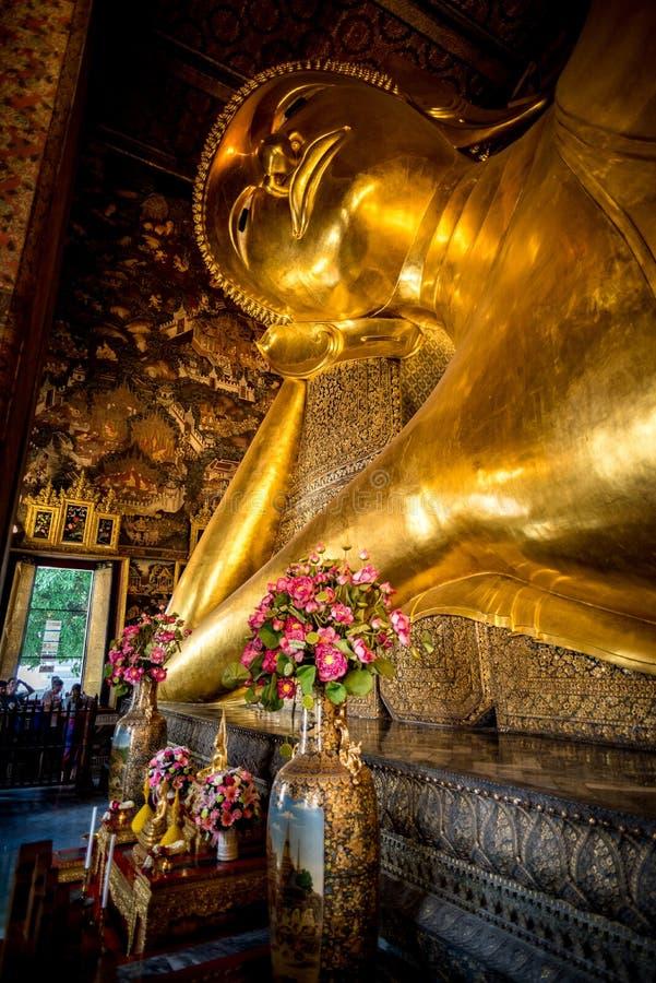The lying buddha of Bangkok stock images