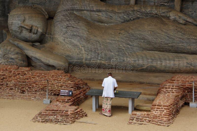 Lying Buddha in Polonnaruwa royalty free stock photo