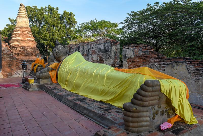 Lying buddha statue of Wat Phanan Choeng temple in Ayutthaya. On Thailand royalty free stock photo